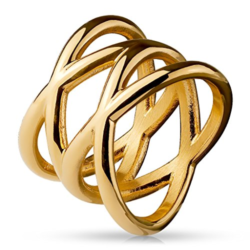 Paula & Fritz Double X 16mm breit Damen-ring Verlobungs-ring Freundschaftsring Herrenring Partnerring Edelstahl Chirurgenstahl 316L roségold 53 (17)