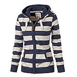 Women Jacket Hooded Plus Size - Cotton Outerwear Stripes Jackets Loose Coats Casual Sweatshirt Long Sleeve Hoodies Sweater Tops White Blue M-5XL Juleya