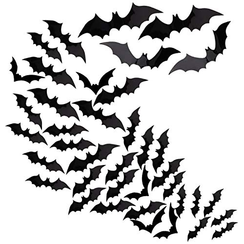 Housolution 3D Wall Sticker, [60 Pieces] Removable Self-adhesive PVC Bat Wall Decal Sticker with 4 Different Sizes for Bedroom Living Room Halloween Decor DIY Crafts - Black