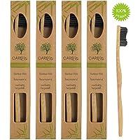 4er-Pack Holzzahnbürste aus nachhaltigem Bambus-Holz ♻ BPA-freie Bambus Holzzahnbürste, plastikfrei verpackte Bambus-Zahnbürste ♻ Zahnbürste mit Bambus-Holzkohle für gesunde und weiße Zähne