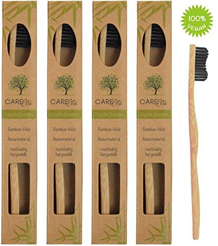 4er-Pack Holzzahnbürste aus nachhaltigem Bambus-Holz ♻ BPA-freie Bambus Holzzahnbürste, plastikfrei verpackte Bambus-Zahnbürste ♻ Zahnbürste mit Bambus-Holzkohle für gesunde und weiße Zähne (Bambu Bambus)