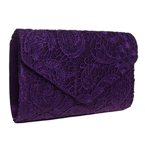 SUMAJU , Damen Clutch Schwarz schwarz violett