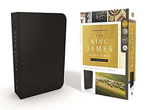 The King James Study Bible, Genuine Leather, Black, Indexed, Full-Color Edition