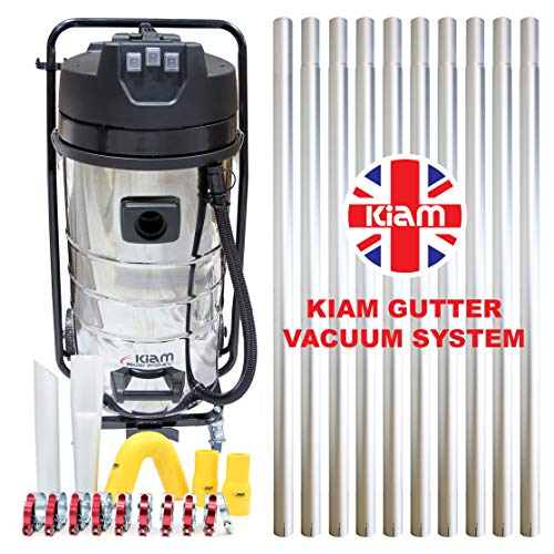 Kiam Gutter Cleaning System KV100-3 3600W Triple Motor Industrial Wet & Dry Vacuum Cleaner & Gutter Pole Kit (40ft (12m)) by Kiam Power Products