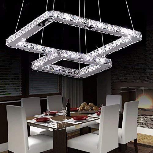 LOCO 40 cm (16 inch)Cristallo di lusso LED lampadario moderno, moderna dell'acciaio inossidabile del quadrato di placcatura Modern Home soffitto Light Fixture