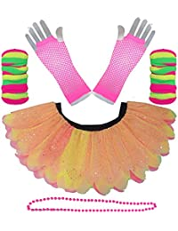 5 LAYER NEON TUTU WITH LEGWARMERS GLOVES & BEADED NECKLACE by Honey B's®
