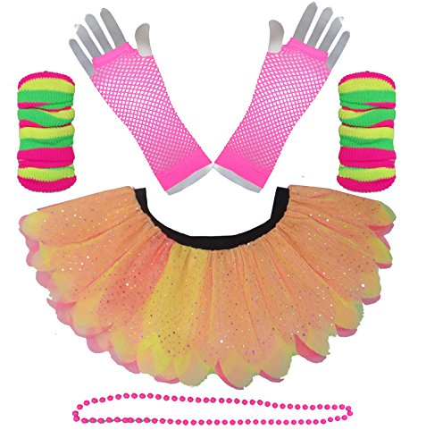 Neon 5 Layer Petal Diamante Tutu Skirt Set with Pink Gloves - Standard or Plus Size