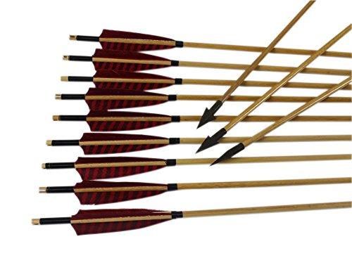 Junze 24 frecce di caccia di legno-Frecce per arco (32 Pollici)