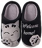 ChaxChay Zapatillas de Estar por Casa Lindo Animados para Niños Mujer Hombre, Pantuflas Interior de Memoria Espuma Cómodo Caliente Zapatos de Algodón, Negro, 39/40 EU (Talla fabricante 40/41)