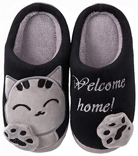 ChaxChay Zapatillas para Invierno de Estar por Casa, Interior de Memoria Espuma, Zapatos de Algodón, Negro, 38/39 talla en etiqueta