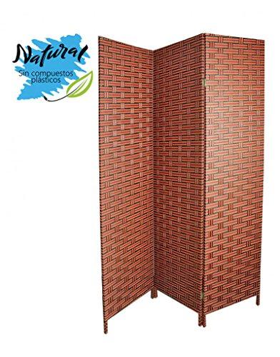 Biombo Separador para Salón/Dormitorio, Bambú Natural y Papel Trenza