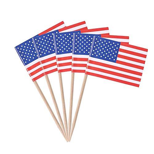 Ruiting Mini-Flagge Zahnstocher 100Pcs amerikanische Flagge Kuchen Auswahl Internationale Events Cocktail-Stock-Flagge Obst Lebensmittel Auswahl