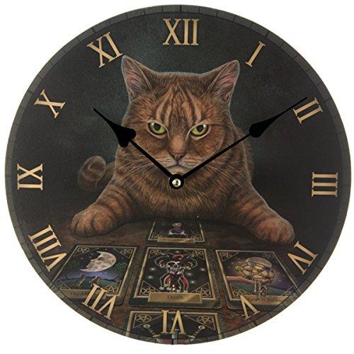 Dark Dreams Wicca Magie Fantasy Hexe Tarot Katze cat Wahrsager The Reader Wanduhr Bilderuhr Lisa Parker (Wahrsager Kostüm)