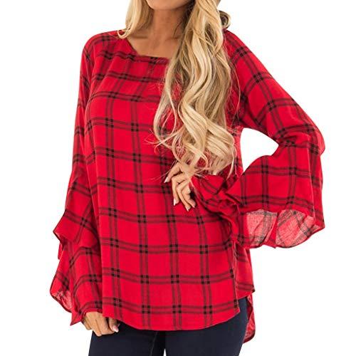Shirts TopsDamen Rundhalsausschnitt Unregelmäßiger Saum Red Plaid Lange Rüsche Ärmel Zurück Schlüsselloch Lässige BluseLoses Shirt