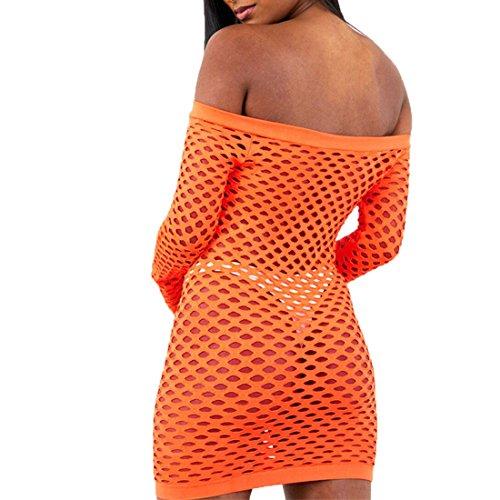 GWELL Damen Sexy Netzkleid Off Schulter Mesh Dessous Mini Kleid Clubkleid Negligee Nachtwäsche Reizwäsche Weiß Orange Schwarz Orange