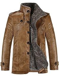 Herren Winter Leder Mantel Duffle-Mantel in 3/4 Laenge mit Schulterklappe peacoat
