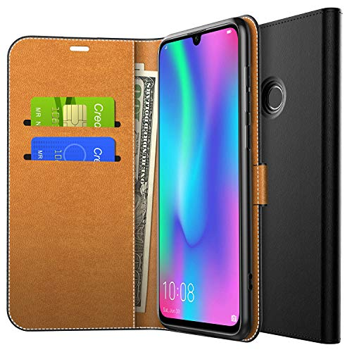 Yocktec Hülle für Honor 10 Lite, Ultra Slim Premium PU Leder Flip Wallet Tasche mit Kartenfach und Ständer für Huawei Honor 10 Lite/Huawei P Smart 2019 Smartphone (Schwarz)