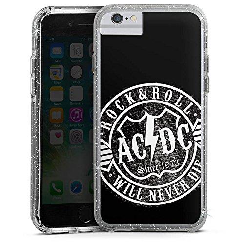 Apple iPhone 8 Plus Bumper Hülle Bumper Case Schutzhülle ACDC Merchandise Rock & Roll Bumper Case Glitzer silber