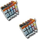 Prestige Cartridge PGI-520/CLI-521 Lot de 10 Cartouches d'encre compatible avec Imprimante Canon Pixma MP540, MP540x, MP550, MP560, MP620, MP620b, MP630, MP640, MP980, MP990, MX860, MX870, iP3600, iP3680, iP4600, iP4680, iP4700, Noir/Noir Photo/Cyan/Magenta/Jaune