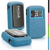 igadgitz Bleu Étui Housse Coque Silicone pour Sandisk Sansa Clip Jam Lecteur MP3 SDMX26-008G (2015) Gel Case Cover
