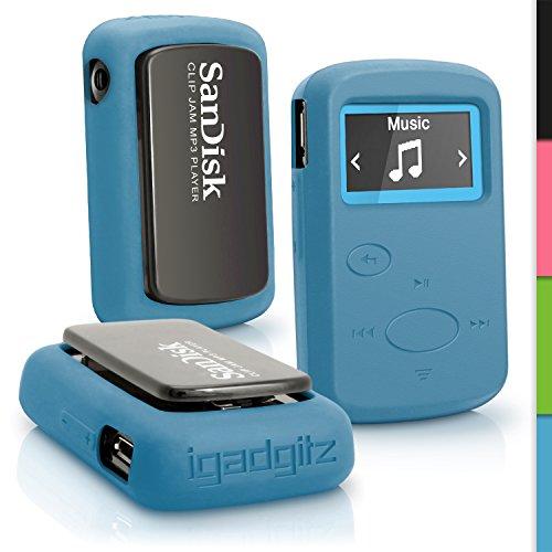 igadgitz Reichweitenmesser u4294Tasche Silikon für SanDisk Sansa SDMX26–008G Cover Blau (Sansa Mp3-player Armband)