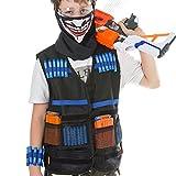 DYFO Tarnung Weste Kinder Weste für Nerf, Inbegriffen 1 Maske, 1 Schutzbrille, 1 Speicherarmband, 40 Pfeile, 2 Magazine für 6 Darts