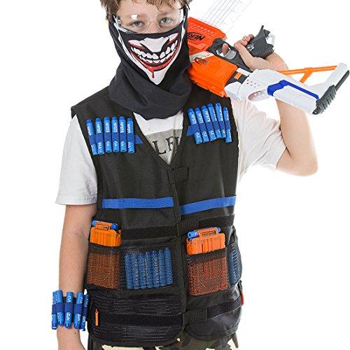 Foxom Tactique Gilet Kit de Veste pour Nerf Blaster avec 40 pcs Fléchettes + 2 Pcs Rechargement Clip pour 6 Fléchettes + Couverture Faciale + Lunettes de Protection + Bande de Poignet
