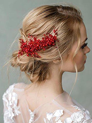 FXmimior Braut-Haarkamm, rote Goji-Beeren, Haar-Accessoire, Brautschmuck, Kopfschmuck, Cranberry, für die Hochzeit, Schmuckranke fürs Haar, farbiger Kamm nach Maß, Rot