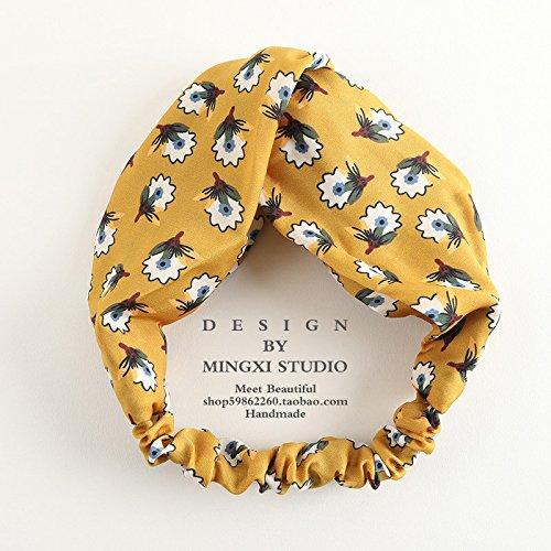 MultiKing Stirnband Kopfbedeckungen Ribbon Blume Satin koreanischen Wild Stoff Kreuz Stirnband Turban süsses Gesicht Stirnband, EINE -