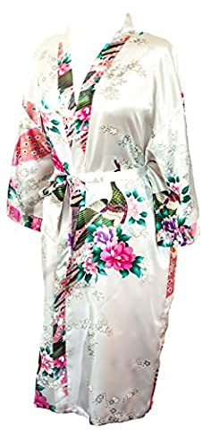 CC Collections Kimono dressing gown robe sexy lingerie night wear dress women lady bridesmaid hen night Japanese oriental peacock style luxurious silk satin rayon natural feel (White