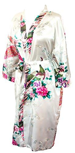(CCcollections Bademantel Robe Wäsche -Nachtabnutzung Kleidbrautjunfer Junggesellinnenabschied (Weiß (White)))