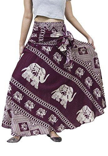 Lofbaz Mujer Falda Larga Bohemia de Cintura Alta Hippie con Flores Design #3 Burdeos Talla única
