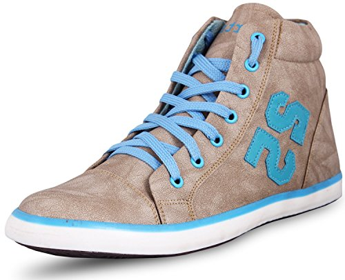 SCATCHITE Sky Blue High Ankle Boots Style Casual Shoes (Boot-25) (8)  available at amazon for Rs.299