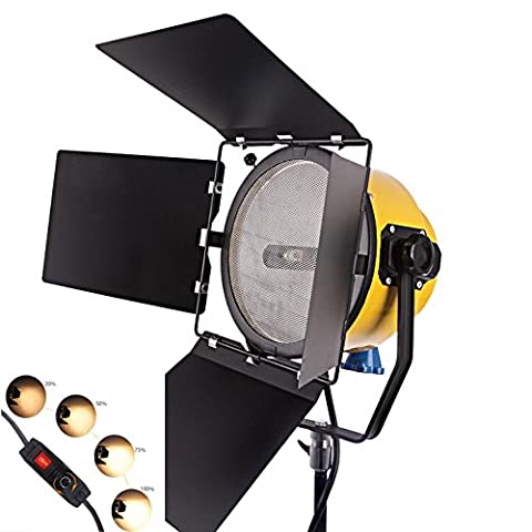 HWAMART® Spotlight 2000W Tête Jaune lumière blonde continue film de tungstène dimmable lumière du film studio de photographie de lumière (One Light) (One blonde)