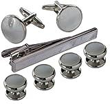 Manschettenknöpfe für den Smoking - Formelles Weiß und silbernes Metall & Krawattennadel mit Box