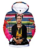 SIMYJOY Unisex Frida Kahlo Poster Hoodie 3D Druck Mexikanischen Künstler Vintage-Stil Pullover Cool Modern Rockabilly Streetwear Pullover für Männer Frauen Jugenden 2XL
