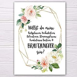 """A6 Postkarte """"Willst du meine Brautjungfer sein?"""" weiß modern Glanzoptik Papierstärke 235 g / m2 Geschenk für Schwester…"""