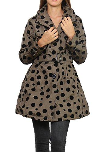 Miss Rouge : Manteau matelassé, à petit pois, taille jusqu'à XXL Beige