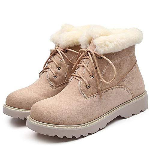 PINGXIANNV Mode Leder Booties Frauen Stiefel Weibliche Damen Stiefeletten Quadratische Ferse Martin Stiefel Winter Schnee Stiefel -