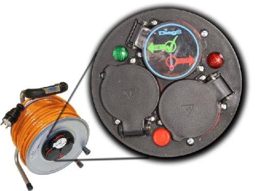 Kabeltrommel Metall, 40m, Verlängerung, PUR-Kabel, H07BQ-F, 3×2.5mm², NEU, Metallkabeltrommel, Kabeltrommel, Baustellenkabel - 3