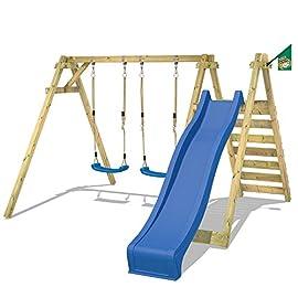 WICKEY-Schaukelgestell-Smart-Swift-Kinderschaukel-Schaukelgerst-Holzschaukel-aus-Massivholz-mit-Rutsche-2-Schaukelsitzen-und-Podest-150cm