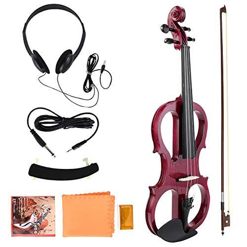 Fafeims Violino Elettrico 4/4 Full Size, Violino Elettrico Strumento Musicale in Legno 4/4 Violino Strumento Musicale Regalo con colofonia Auricolare Prua Spalla Resto (Red)