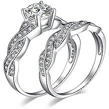 JewelryPalace Infini 1.5ct Zircone Cubique Anniversaire Mariage Promise Alliance Bague de Fiançailles Nuptiale Ensembles en Argent 925