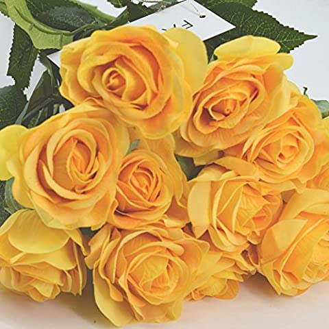 FatColo(R) Artificial Craft Real Touch Latex Rose Flowers for Bouquets, Weddings, Wreaths, & Crafts - Set of 10 Yellow