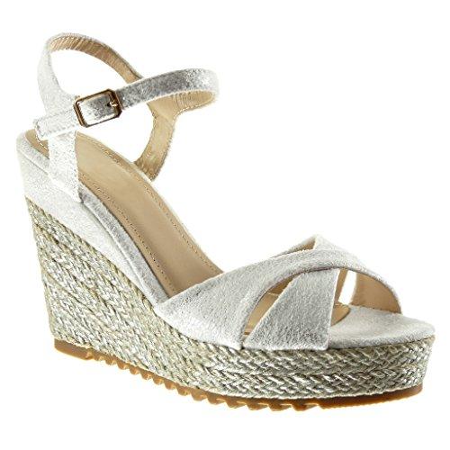 Angkorly Damen Schuhe Sandalen Espadrilles - Plateauschuhe - Seil Keilabsatz High Heel 11.5 cm - Schwarz BL206 T 39 qllF3