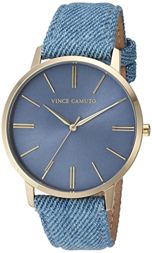 Vince Camuto Women's VC/5322LBLD Gold-Tone and Light Blue Denim Strap Watch