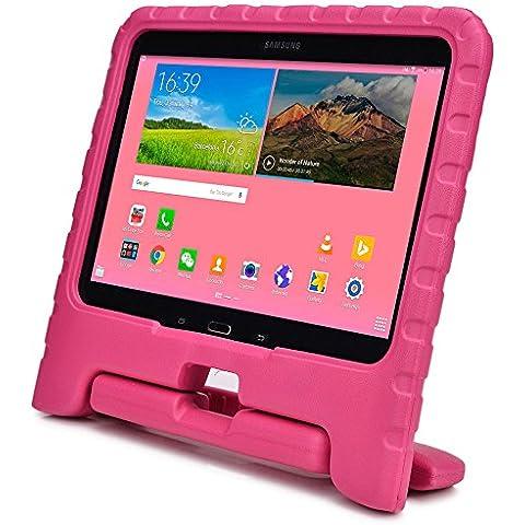 Funda Infantil Cooper Cases (TM) Dynamo para Samsung Galaxy Tab 4 10.1 & 3 10.1 en Rosa + Protector de Pantalla gratuito (Ligera, absorción de impactos, Espuma EVA segura para los niños, Asa incorporada, y soporte para