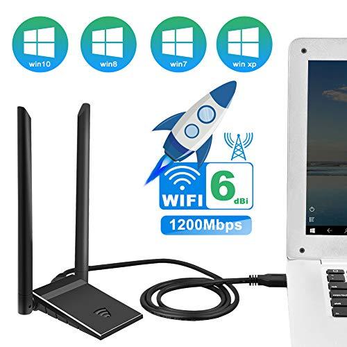 ShangQia WiFi Adapter 1200Mbit/s mit 5dBi Antenna WLAN Stick,USB 3.0 Dualband 5G/867Mbps+2.4G/300Mbps WLAN Adapter Unterstützung Windows XP/Vista/7/8/10 Mac OS