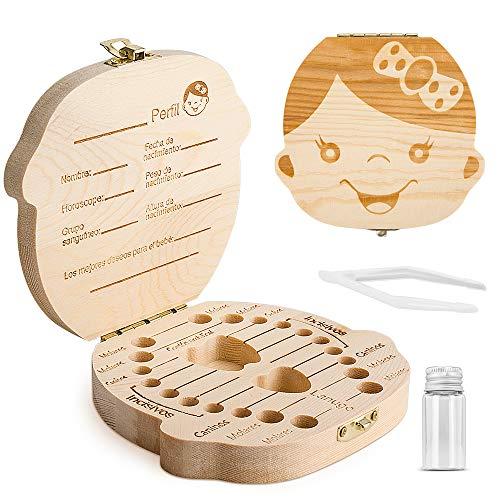 Caja para guardar dientes para niños y niñas, Regalo para niños en madera de souvenir, Acumulación de dientes