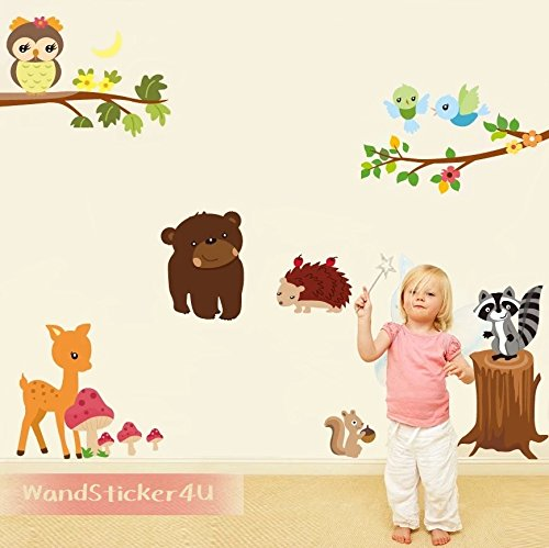 owls-tree-wall-sticker4u-woodland-animals-brown-bear-deer-hedgehog-squirrel-bear-bear-teddy-baby-roo